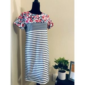 Joules Riviera Striped Floral Jersey Dress sz 8